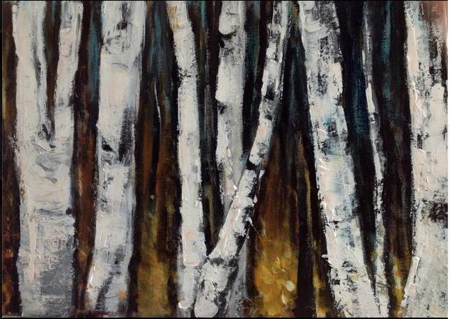 Bouleaux. Peinture acrylique sur toile. 50x70 cm. 2016