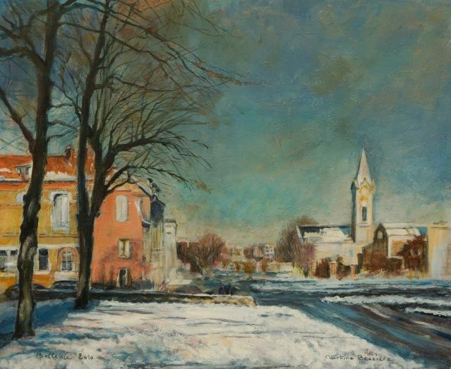 Meudon-Bellevue sous la neige. Peinture acrylique sur toile. 46X56 cm, 2015