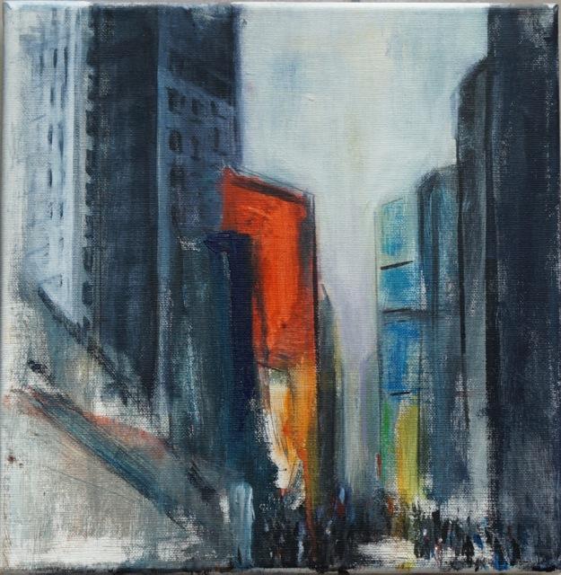 Atmosphère de New-York. Peinture acrylique sur toile. 30x40 cm. 2012
