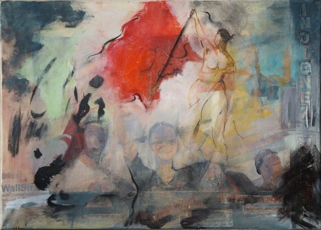 Le printemps arabe, Peinture acrylique sur toile, 50x70 cm, 2013