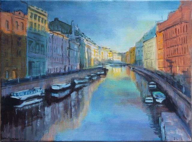 Les canaux de Saint-Pétersbourg, Peinture acrylique sur toile. 30x40 cm, 2015