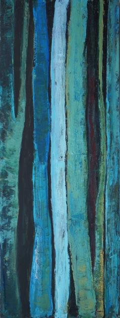 Troncs d'arbres. Peinture acrylique sur toile. 45x120 cm. 2016