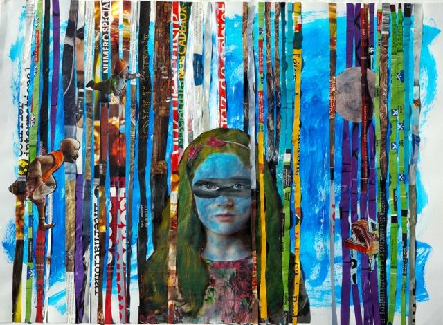 L'enfant et les réseaux sociaux. Technique mixte sur toile. 50X70 cm. 2016