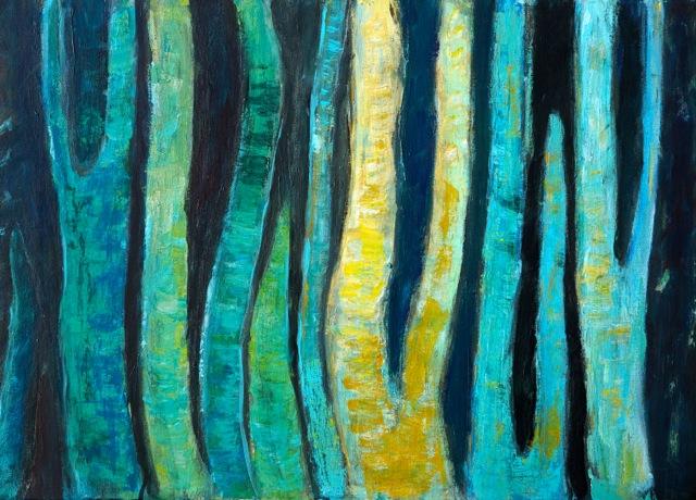 Danse avec les arbres. Peinture acrylique sur toile. 50x70 cm. 2016