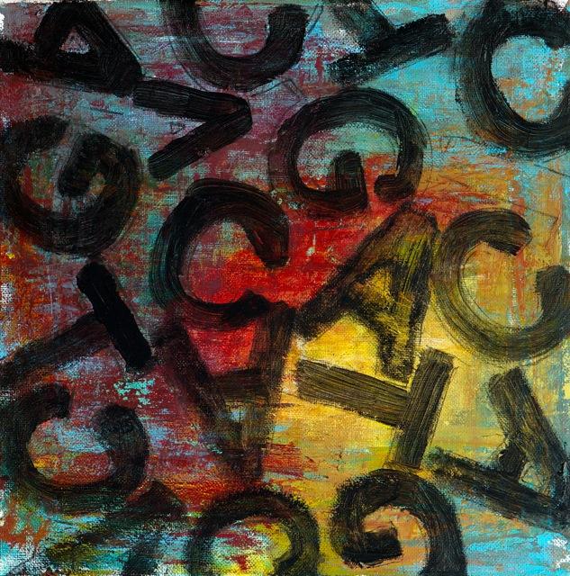 Jeu de lettres. Peinture acrylique sur toile. 30x30 cm. 2016