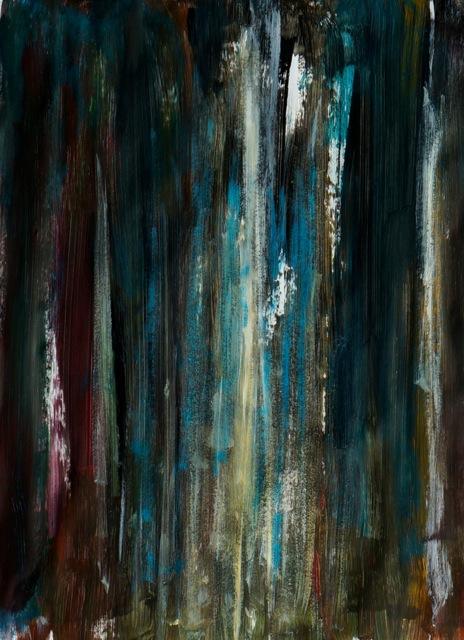 Lumières en forêt. Peinture acrylique sur papier. 50x70 cm. 2016