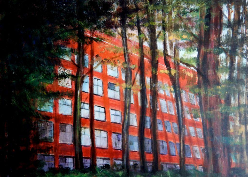 Bureaux dans le bois de Meudon. Peinture acrylique sur toile. 50x70 cm. 201