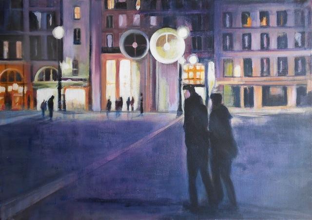 Place Beaubourg à Paris. Peinture acrylique sur toile. 50X70 cm, 2013
