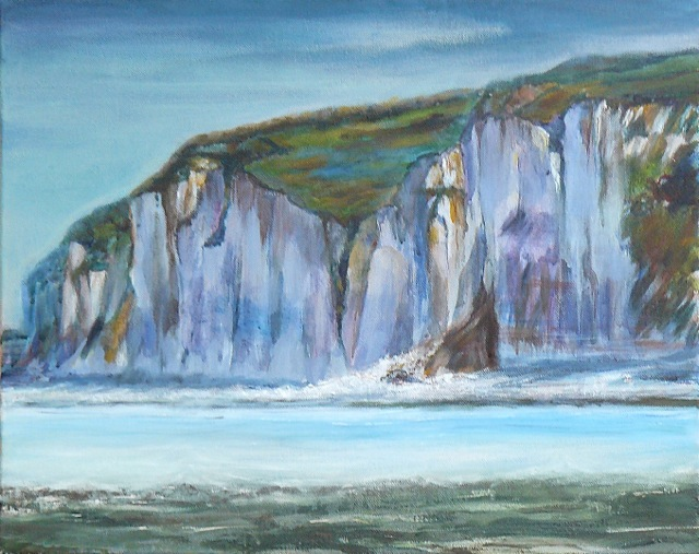 Falaises de Veules-les-Roses.  Peinture acrylique sur toile. 38X48 cm, 2013