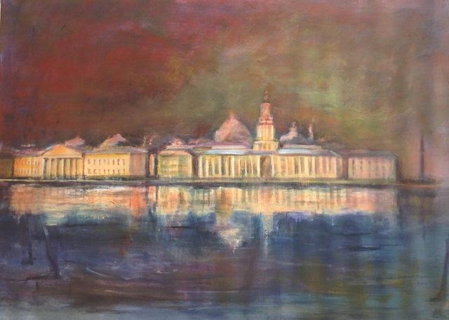 Palais à Saint-Pétersbourg. Peinture acrylique sur toile. 50X70 cm, 2015