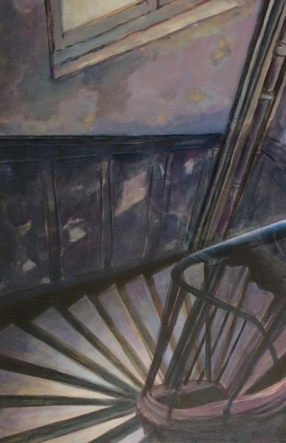 L'escalier de l'atelier du Val.  Peinture acrylique sur toile. 50X70 cm. 2016