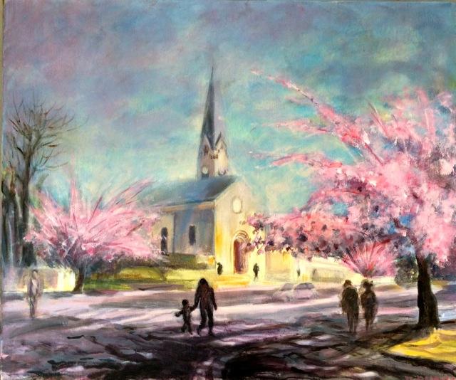 Meudon-Bellevue au printemps. Peinture acrylique sur toile. 46X56 cm, 2015