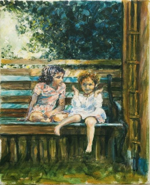 Louenn et Maya sur le banc.