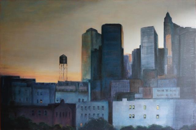 New-York. Vue du Pont de Brooklin. Peinture acrylique sur toile. 120X80 cm. 2012