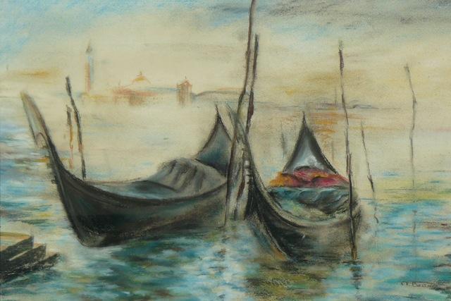 Gondoles à Venise. Pastel sur papier. 45X31 cm.