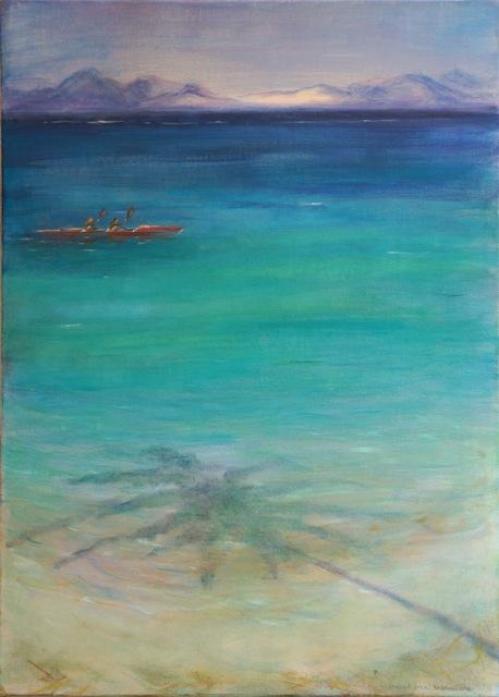 Pirogue aux Tuamotu. Peinture acrylique sur toile. 50x70 cm, 2015