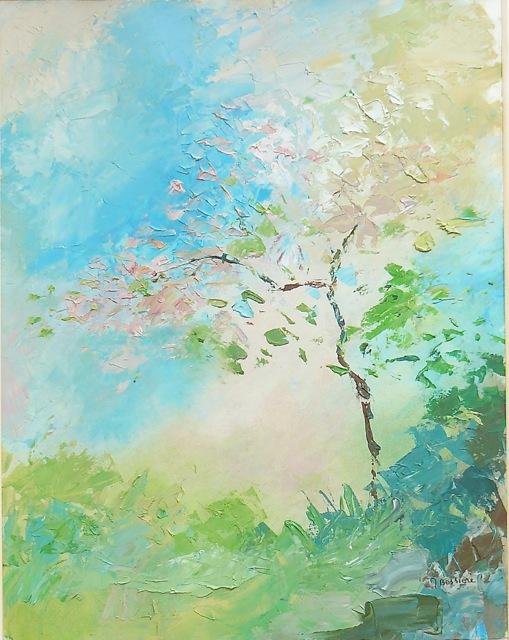Printemps.  Peinture à l'huile sur bois. 50x70cm