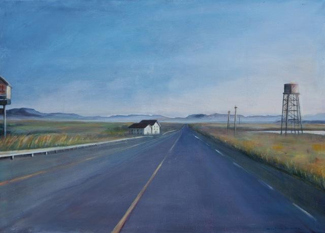 La route 66 aux USA. Peinture acrylique sur toile. 50x70 cm. 2012