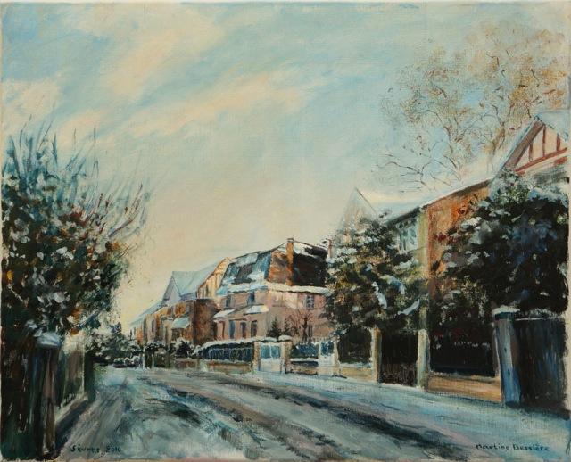 Rue Nungesser et Coli à Sèvres. Peinture acrylique sur toile. 46X56 cm, 2013