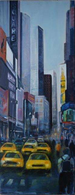 Trafic à New York. Peinture acrylique sur toile. 45x120 cm. 2012