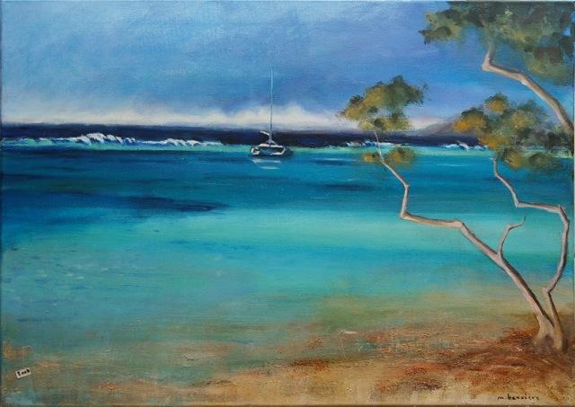Le lagon. Peinture acrylique sur toile. 50x70 cm, 2015