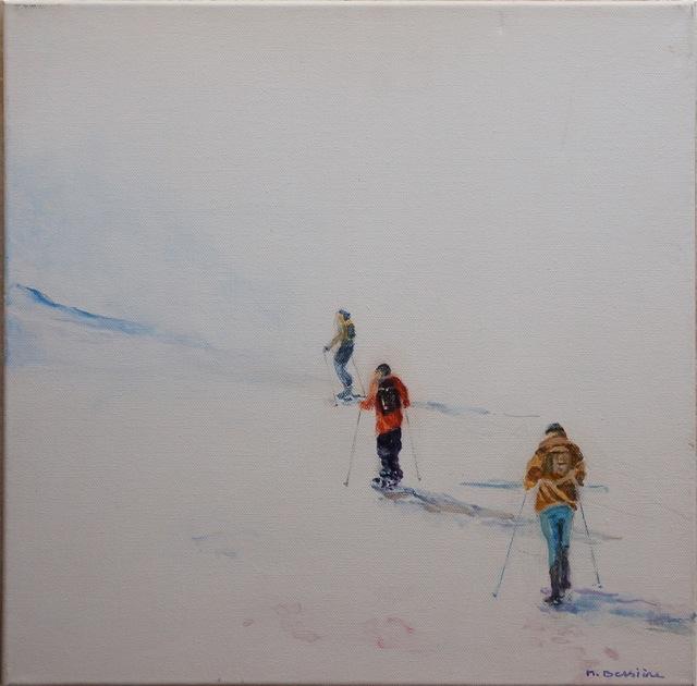 Randonnée en raquettes.  Peinture acrylique sur toile. 30X30 cm. 2014