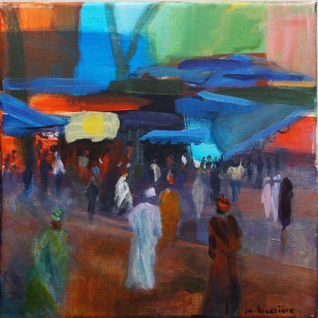 Marché d'Afrique, Peinture acrylique sur toile, 30x30 cm, 2014