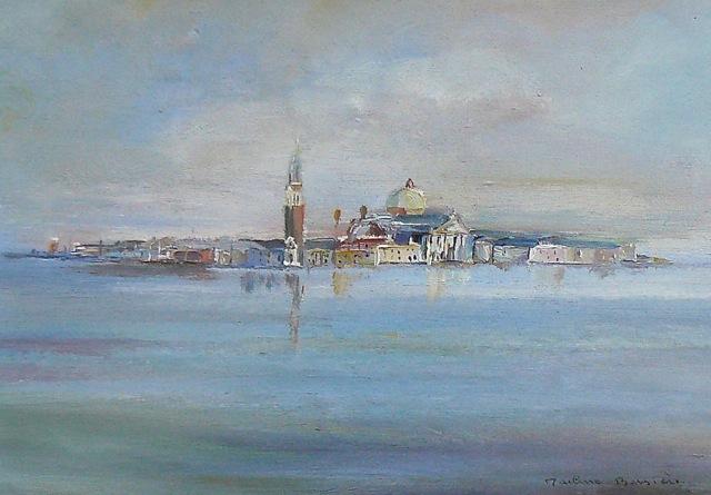 Basilique San Giorgio Maggiore. Peinture à l'huile. 28,5x20,5 com.