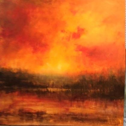 Le ciel en feu. Peinture acrylique sur toile. 80X80 cm, 2017