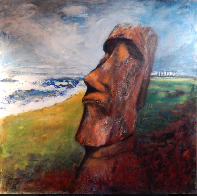 Moaï. Ile de Pâques. Peinture acrylique sur toile, 80x80 cm, 2016