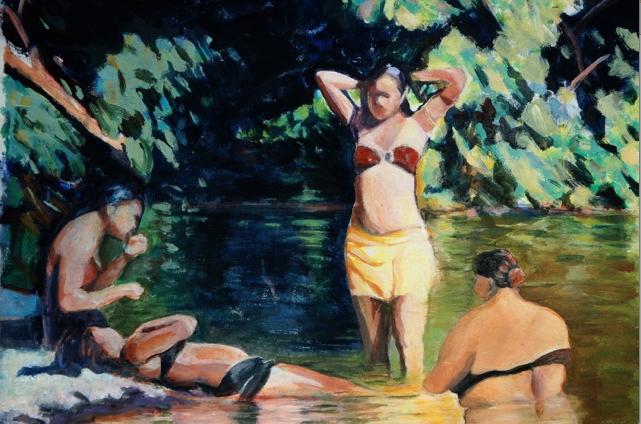 Dimanche à Tahiti. Peinture acrylique sur papier, marouflé sur bois. 46x55 cm, 2015