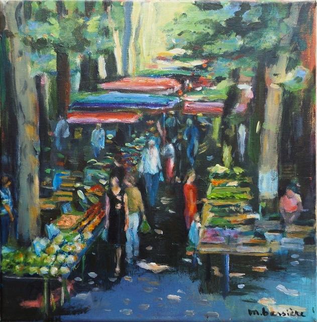 Petit marché de Provence. Peinture acrylique sur toile. 30X30 cm. 2016